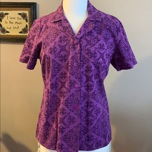 NWOT, Basic Editions Purple Paisley Top, Large